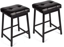 Mellcom 24 Inch Bar Stools Backless Counter Height with PU Leather Seat,Indoor Outdoor Kitchen B ...