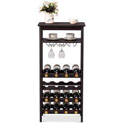 COSTWAY 16-Bottle Wine Rack, Free Standing Wine Storage Shelves, Wine Display Bamboo Rack with G ...
