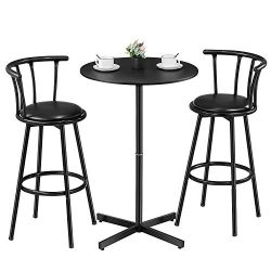 "Kealive Bar Table Set 3 Piece Wood Round Table with 2 Stools, X-Shaped Base 39"" Height Tab ..."