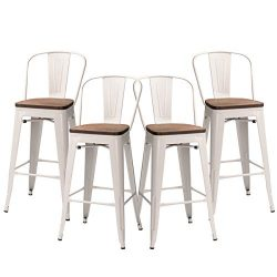 Yongqiang 30 inch Metal Bar Stools Set of 4 High Back Bar Chair Wooden Seat Industrial Counter H ...