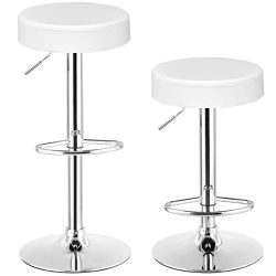 COSTWAY Swivel Bar Stool, Round PU Leather Height Adjustable Chair Pub Stool with Chrome Footres ...