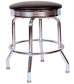 Richardson Seating Retro Chrome Swivel bar Stool with Seat Metal, 24″, Black