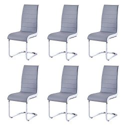 Modern Dining Chairs Set of 6, Grey White Side Dining Room Chairs, Kitchen Chairs with Faux Leat ...