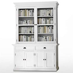 Beaumont Lane Wood China Cabinet/Hutch Buffet/Bookcase in Pure White, Storage, Drawers