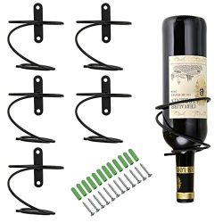Hipiwe Pack of 6 Wall Mounted Wine Racks – Red Wine Bottle Display Holder with Screws, Met ...