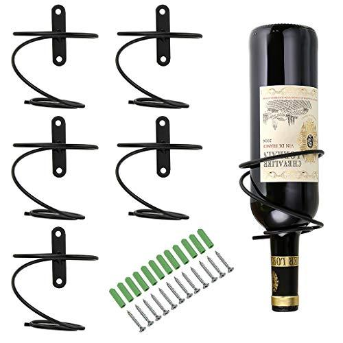 Hipiwe Pack of 6 Wall Mounted Wine Racks – Red Wine Bottle Display Holder with Screws, Met ...