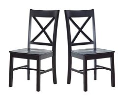 Ravenna Home Solid Pine Dining Chair with Cutout Back, 38″H, Black Finish, Set of 2