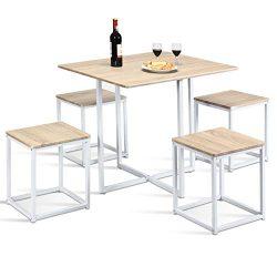 Giantex 5 Piece Dining Table Set with 4 Stools Metal Frame Space-Saving Storage Bar Pub Kitchen  ...