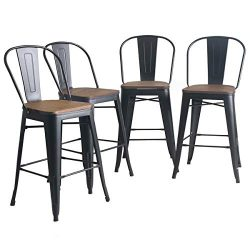 YongQiang Set of 4 Metal Barstools 24 inch High Back Bar Stools Dining Chair Counter High Bar Ch ...