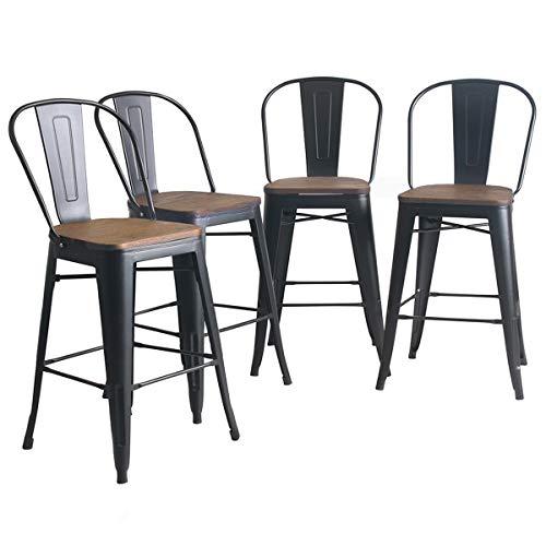 YongQiang Set of 4 Metal Barstools 24 inch High Back Bar Stools Dining Chair Counter High Bar Ch ...