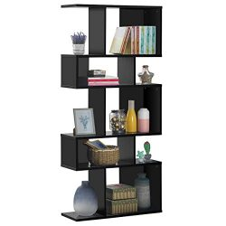 Giantex Freestanding Ladder Bookcase, 5 Cubes Corner Storage Bookshelf, 5-Layer Shelves Closet O ...