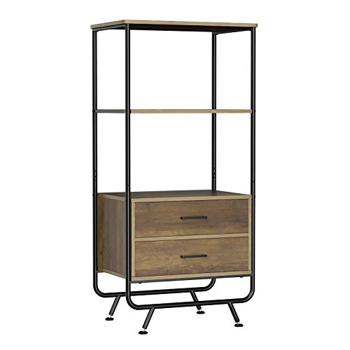 HOMECHO Industrial Floor Cabinet Storage Organizer Unit with Shelves and 2 Drawers, Wood Display ...