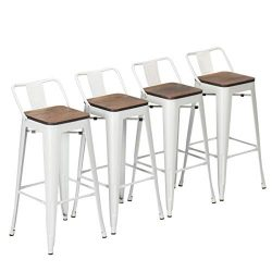Yongchuang Metal Counter Height Bar Stools (Pack of 4) White Wooden Low Back 24″