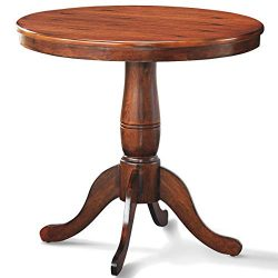 Giantex Table 30″ Wooden Round Pub Pedestal Side Table, Adjustable Foot Pads, Spacious Tab ...