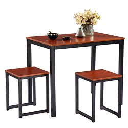FCH Counter Height Table Set, 3-Piece Pub Bar Table Set Dining Table Set for 2 Person Simplistic ...