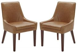 Rivet Contemporary Welt-Trimmed Dining Chair, 35″H, Cognac, Set of 2