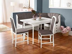German Furniture Warehouse European Dining Furniture Set, Breakfast Nook Bench Made from Beech W ...