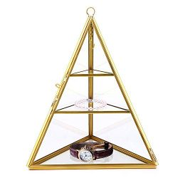 VoiceFly 3 Tiers Glass Pyramid Jewelry Holder Stand Display Case Jewelry Organizer Box for Stora ...