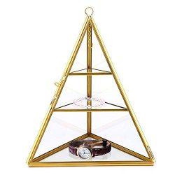 VoiceFly 3 Tiers Glass Pyramid Jewelry Holder Stand Display Case Jewelry Organizer Box for Stora ...