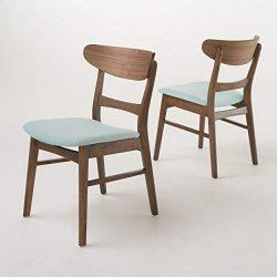 Christopher Knight Home Idalia Walnut Finish Dining Chair (Set Of 2), Mint