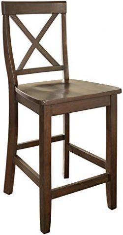 Crosley Furniture X-Back Bar Stool (Set of 2), 24-inch, Vintage Mahogany