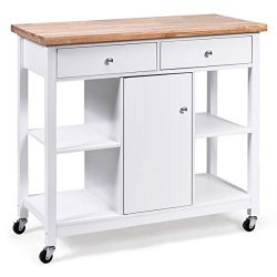 Giantex Kitchen Island on Wheels Kitchen Carts with Storage and Drawers, Wine Rack, Shelves, Gla ...
