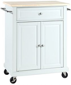 Crosley Furniture Cuisine Kitchen Island with Natural Wood Top – White