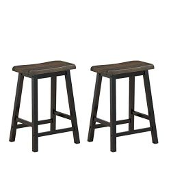 COSTWAY 24 Inches Saddle Stool Set of 2, Counter Height Solid Wood Bar Stool, Mid-Century Modern ...