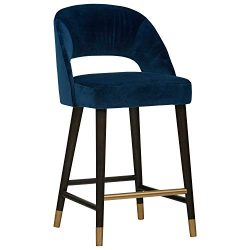 Rivet Whit Contemporary Upholstered Counter Height Stool with Gold Accents, 37″H, Navy Velvet