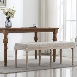 Chairus Fabric Upholstered Dining Bench – Classic Entryway Ottoman Bench Bedroom Bench wit ...