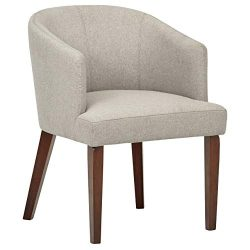 Rivet Alfred Mid-Century Modern Upholstered Wide Curved Back Accent Kitchen Dining Room Chair, 2 ...