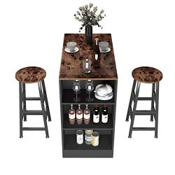 SDHYL Bar Table Set with 2 Bar Stools High Top Table 3 Storage Racks Pub Dining Table Breakfast  ...