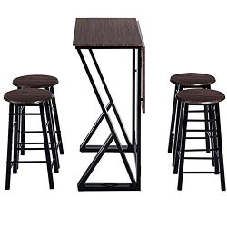 Bar Table Set, Counter Height Table Set, Drop Leaf Dining Table Set with 4 Chairs, for Bar, Brea ...