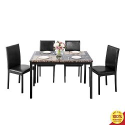 Romatlink 5-Piece Dining Table Set Marble Top Counter Height with 4 PU Leather Stools, Perfect f ...