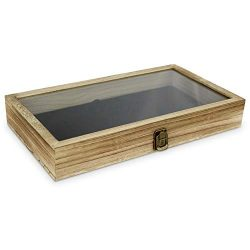 Mooca Wood, Glass Top Jewelry Display Case Accessories Storage Box with Metal Clasp, Wooden Jewe ...