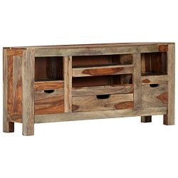vidaXL Solid Sheesham Wood Sideboard Sturdy Rustic 3 Drawers Compact Practical Home Furniture Dr ...