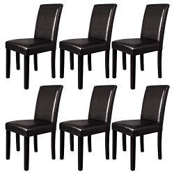 Furgle Dining Chairs Set of 6, Oak Wood Dining Room Side Chair with Upholstered Back and Seat Co ...