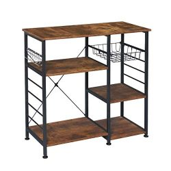 KINGSO Industrial Kitchen Baker's Rack Utility Storage Shelf, Microwave Oven Stand Kitchen ...