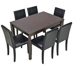 Furgle 7 Piece Furniture Kitchen Dining Table Set with Oak Wood Dining Room Table and Set of 6 D ...