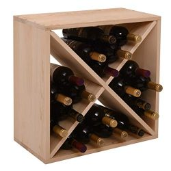 GMNEW Wood Wine Rack Cube 24 Bottles Storage Holder Organizer Stackable Wine Stand for Bar, Wine ...