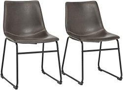 Phoenix Home PU Leather Dining Chair Set of 2, 18.11″ Length x 21.65″ Width x 30.7&# ...