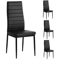Mecor Modern Dining Chairs Set of 4, High Back PU Leather with Steel Frame Legs Kitchen Room Cha ...