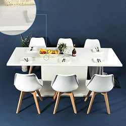 HOMYCASA Dining Table Extensible Flexible Seating Wooden High Gloss White Desk 160-205cm for 6 t ...