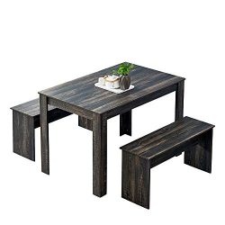 HomeSailing Wooden Dining Table and 2 Benches Set 3 Pieces Kitchen Dining Room Furniture Seats f ...