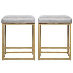 U-Eway 24″ High Backless Bar Stools (Set of 2),Pu Surface Backless Counter Stool & Met ...