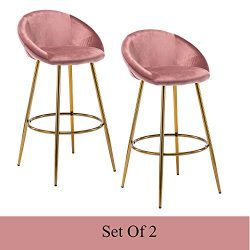 Guyou Modern Velvet Bar Stools Set of 2, Accent Upholstered Chairs, Counter Stool with Chrome Fo ...