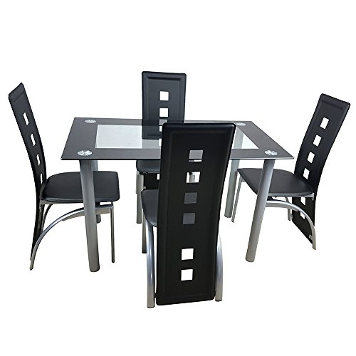 Kitchen Dining Table Set,5 Pieces Modern Dining Room Table Set w/ Tempered Glass Top & 4 Hig ...