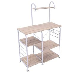 Novania Vintage Kitchen Baker's Rack Utility Storage Shelf, 3-Tier + 4-Tier Table Microwav ...