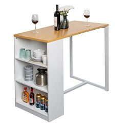 Soges Kitchen Counter Height Dining Table 47 inches Pub Table with Storage Shelves, Bar Table GC ...