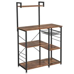 VASAGLE ALINRU Baker's Rack with Shelves, Kitchen Shelf with Wire Basket, 6 S-Hooks, Micro ...